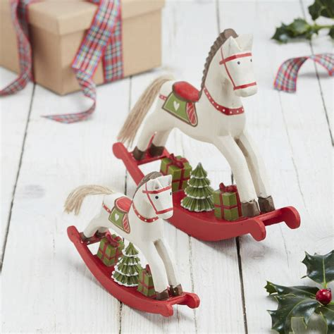 wooden rocking horses christmas decorations
