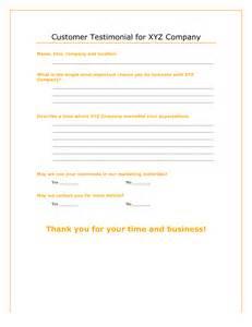 Customer Testimonial Form Template
