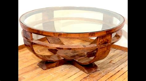 $15 table makeover with pallet wood & mirror top! Marvelous Round Glass Top Coffee Table With Wood Base - YouTube