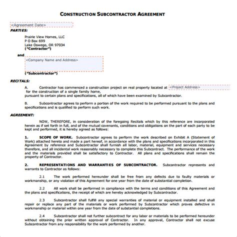 sample subcontractor agreement templates