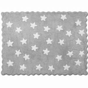 Tapis Etoile Gris : tapis petites toiles fond gris en coton lavable achat ~ Teatrodelosmanantiales.com Idées de Décoration
