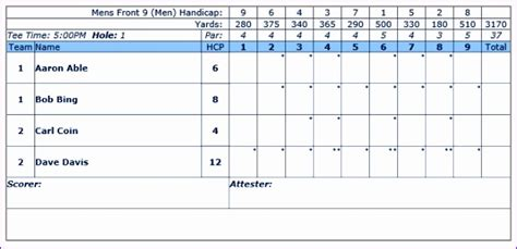 golf scorecard template excel excel templates excel