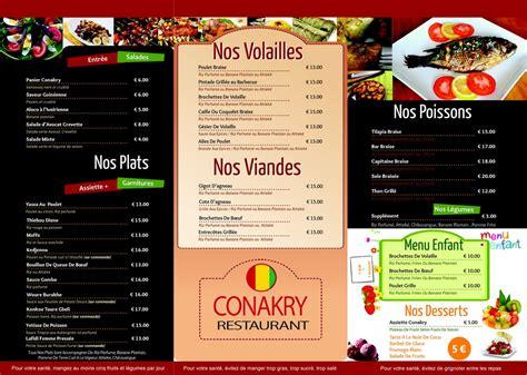 Carte De Menu Restaurant Original by Menu Restaurant Le Conakry Restaurant Africain 224 Lyon