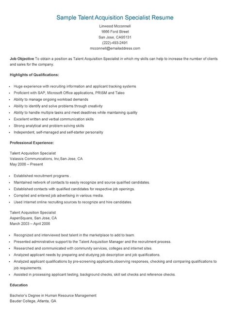 Talent Acquisition Specialist Resume by 17 Best Images About Resame On Skin Care Specialist Supply Management And