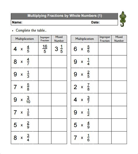 10+ Multiplying Fractions Worksheet Templates  Pdf  Free & Premium Templates