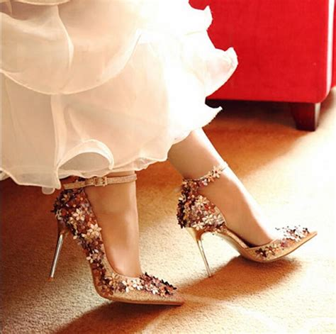 light gold wedding shoes shinning light gold wedding shoes with flower ankle strap