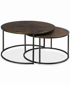 copper round 2 piece nesting coffee table set furniture With two round coffee tables