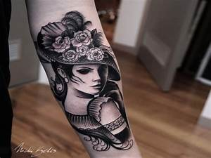Vintage style black ink arm tattoo of woman with beautiful ...