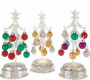 Kringle Express S 3 Glass Trees w Mercury Glass Base and