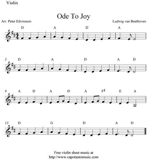 music sheet ode joy violin easy songs notes beginner capotastomusic sheets guitar printable piece saxophone recorder piano scores cello play
