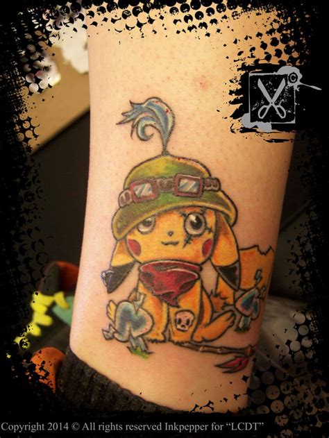 teemo tattoo pikachu tattoo league  legends pokemon