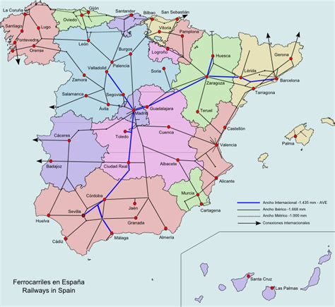 landkarte spanien karte eisenbahnnetz weltkartecom