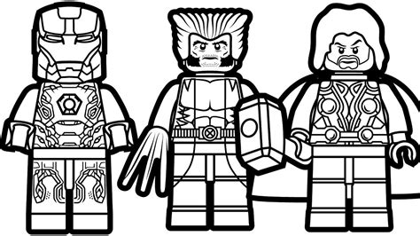 Lego Marvel Coloring Pages by Lego Iron And Lego Wolverine Lego Thor Coloring Book
