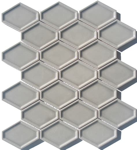 elongated hex tile lyric lounge collection elongated hex tile concave in dove gray