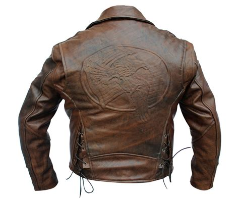 Mens Distressed Retro Brown Flying Eagle Motorcycle