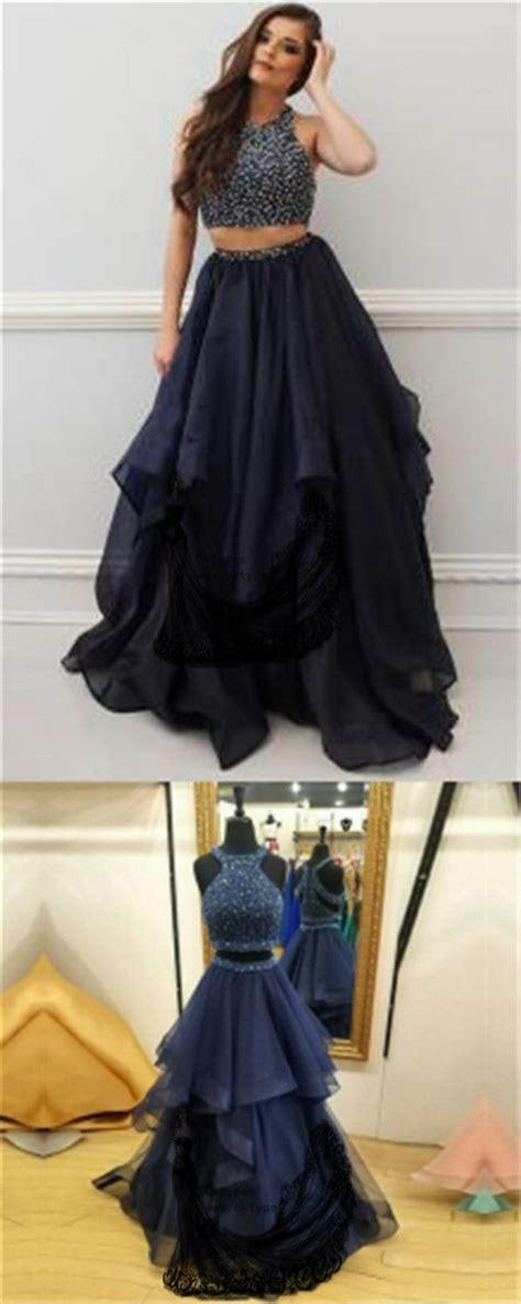 charming navy blue prom dress  piece prom dresses