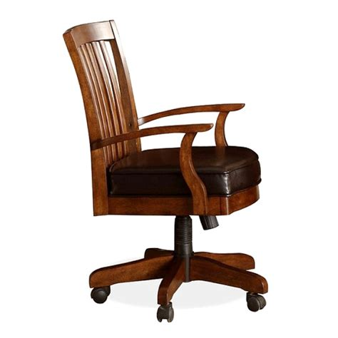 wood and leather desk chair office chairs casters for office chairs