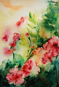 Original Watercolor Painting Abstract Flowers Spring ...