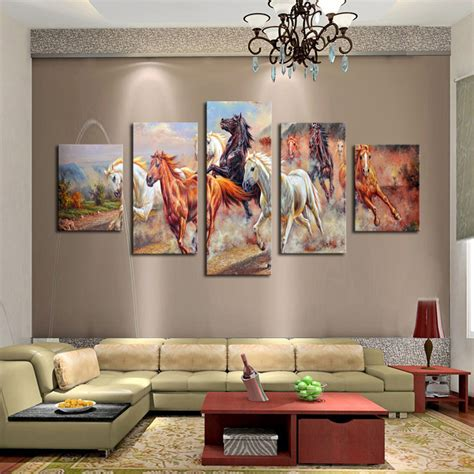 Wall Decor Canvas by Unframed 5 Panels Canvas Print Painting Modern Running