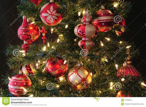 christmas tree ornaments stock image image of green