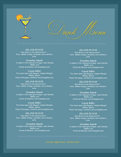 Drink Menu Templates Microsoft Word by 5 Attractive Drink Menu Templates For Your Bar Business
