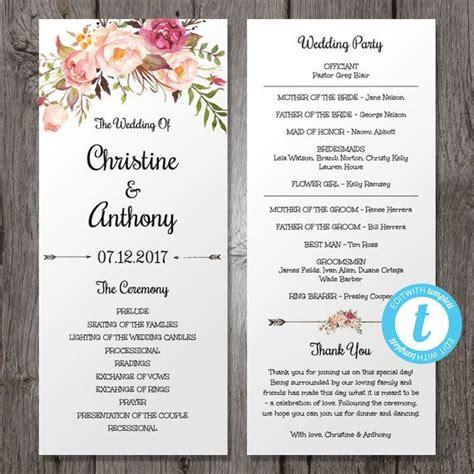 wedding program template instant bohemian floral wedding program edit in our web app