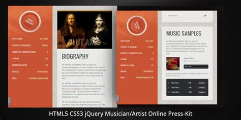 electronic press kit template musician artist html5 press kit by virtuti themeforest