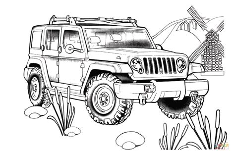 4 door jeep drawing jeep rescue coloring page free printable coloring pages
