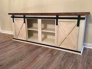 custom sliding barn door cabinet entertainment center With buffet table with barn doors