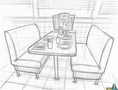 Drawing Restaurant Booth Concept Diner Drawings Nightlife