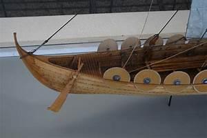 Viking ship replica Skuldelev 5 in Roskilde museum harbour