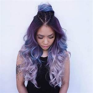 Picture Of dark purple to light lavender ombre hair