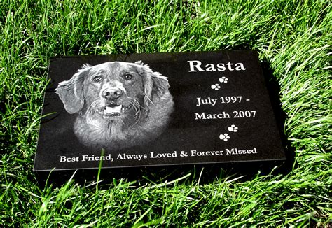 your pets photo engraved on a pet memorial headstone marker