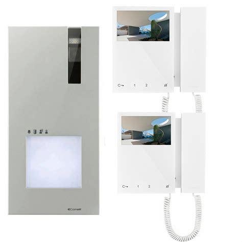 kit videocitofono bifamiliare comelit quadra a colori monitor con cornetta 4 3 quot pollici