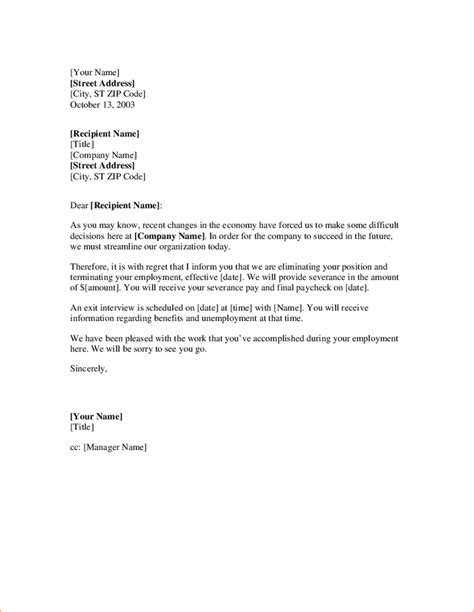 layoff letter outline templates