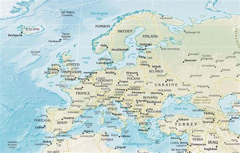Physical Map of Europe with Rivers