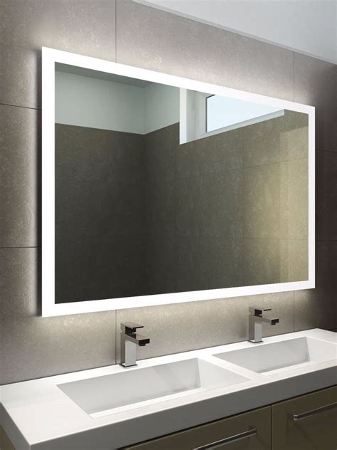 halo wide led bathroom mirror