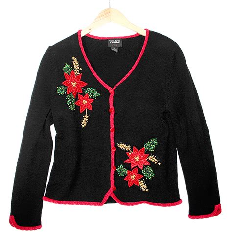 beady poinsettia tacky ugly christmas sweater the ugly