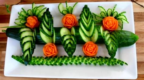 cucumber salad decoration how to make cucumber decoration vegetable carving
