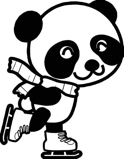 chibi kung fu panda ice skate coloring page