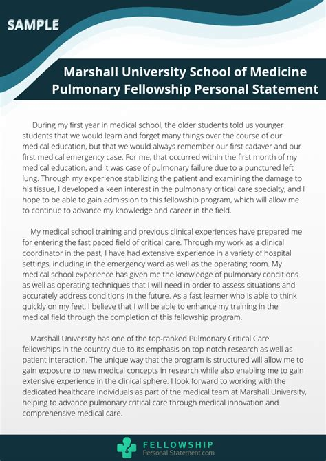 A personal statement is a few brief and direct sentences at the top of your cv. Pulmonary Fellowship Personal Statement Writing Assistance