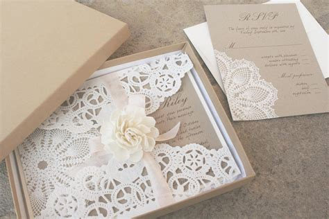 Lace and Kraft Paper Boxed Wedding Invitations OneWed com