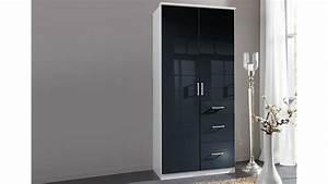 Küchenschrank 90 Cm Breit : kleiderschrank clack in hochglanz schwarz alpinwei 90 cm ~ Markanthonyermac.com Haus und Dekorationen
