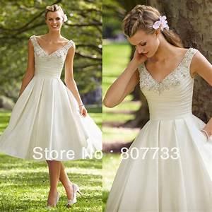 Aliexpresscom buy free shippingsexy beaded v neck for White tea length wedding dress