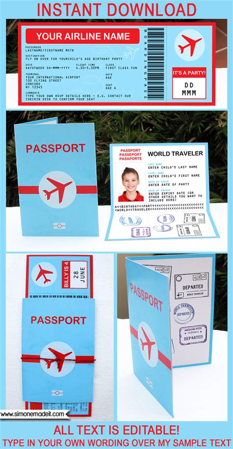 airplane party printables invitations decorations