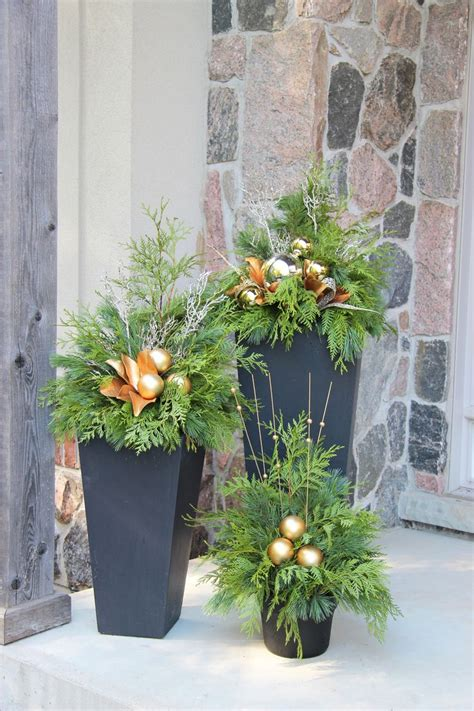 outdoor christmas planters ideas