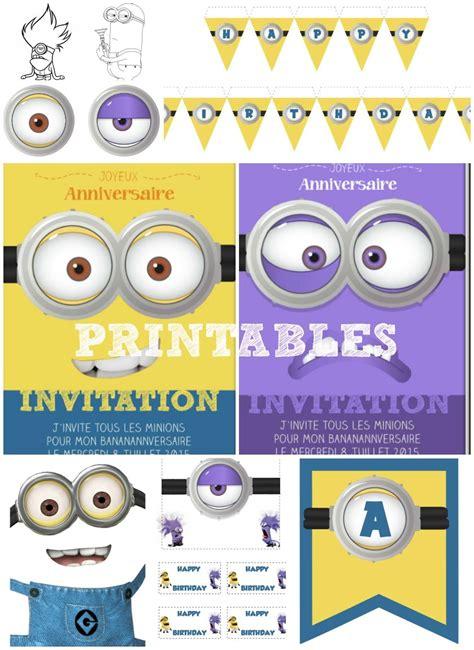 kit minions gratuit anniversaire  imprimer