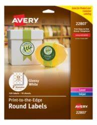 Avery easy peel print to the edge glossy white round labels for Avery labels 22807