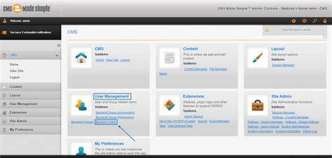 users manage cms groups simple