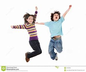 Two Happy Children Jumping At Once Royalty Free Stock ...
